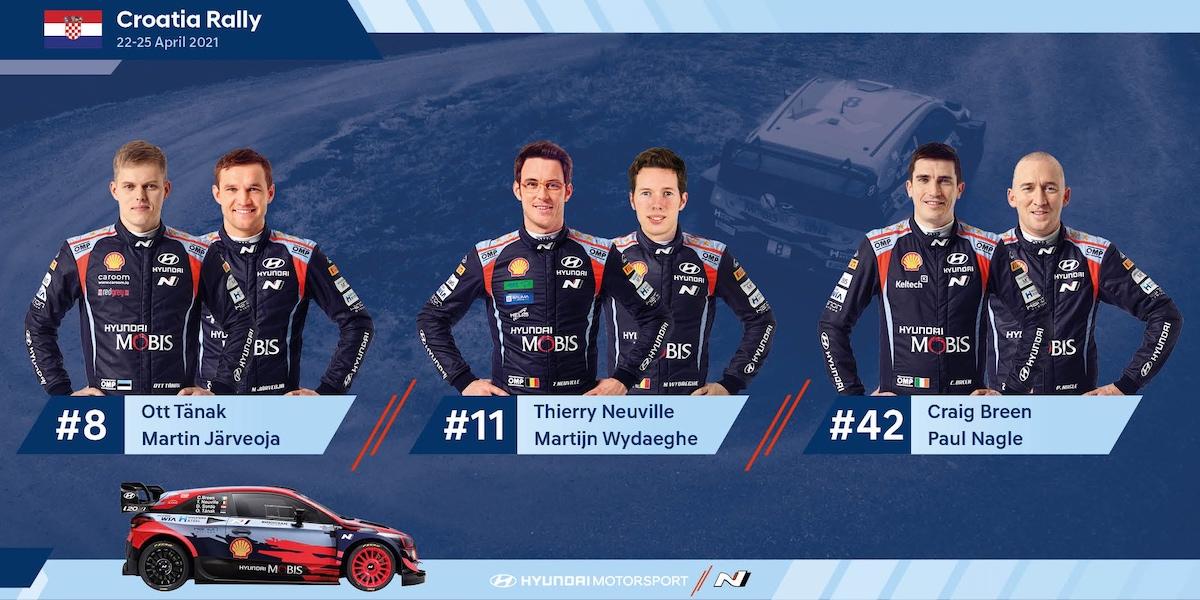 Croatia Rally, Hyundai Motorsport, Craig Breen, Thierry Neuville, Ott Tänak