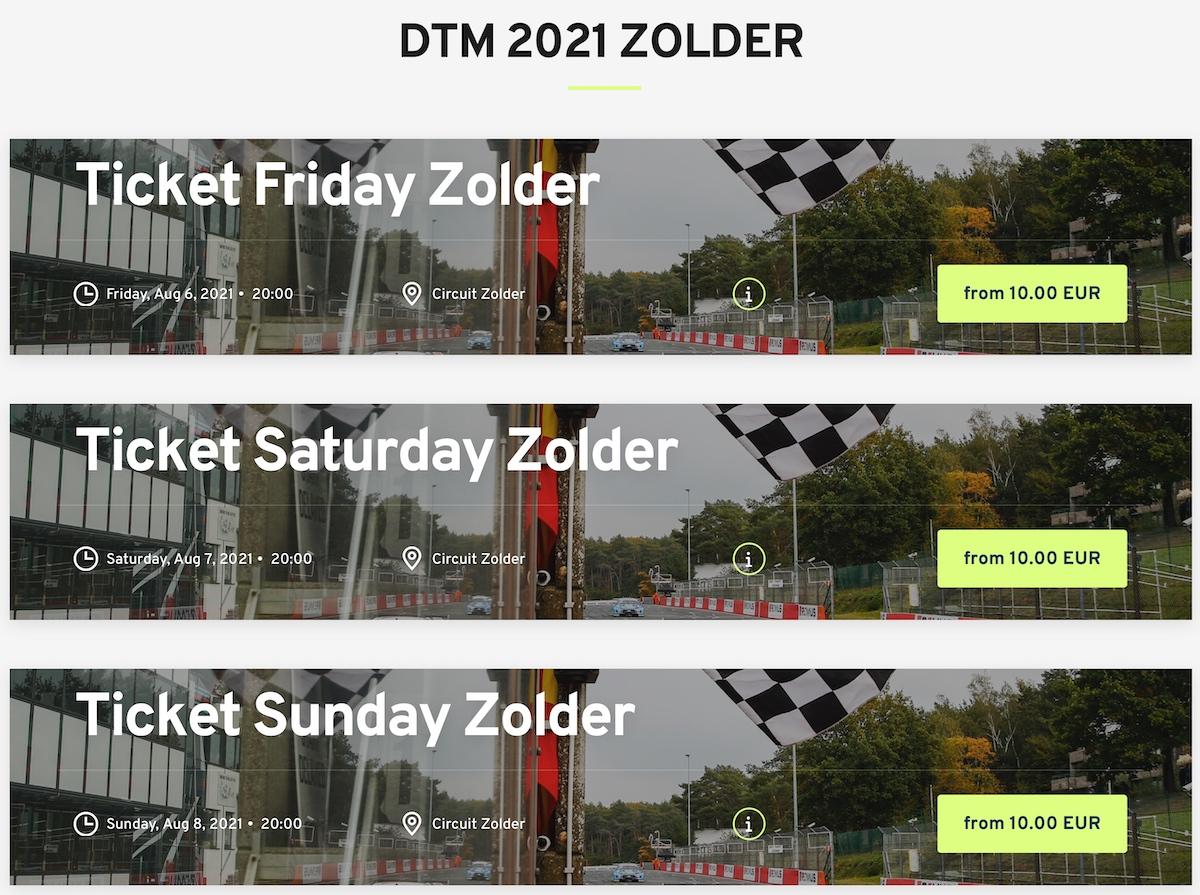 Circuit Zolder, DTM, ticket